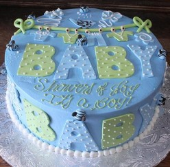 CHOCOLATE TRUFFLE BABY SHOWER CAKE